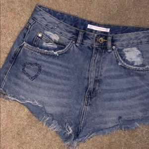 Zara Distressed Jean Shorts